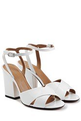 Sonia Rykiel Patent Leather Block Heel Sandals White