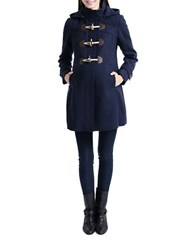 Kimi Kai Maternity Wool Blend Duffle Toggle Coat Blue