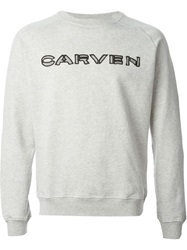 Carven Cut Out Logo Sweatshirt Grey