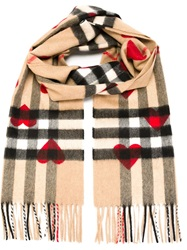 Burberry 'Haymarket' Heart Print Scarf Nude And Neutrals
