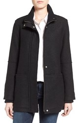 Halogenr Petite Women's Halogen Zip Front Stand Collar Coat Black