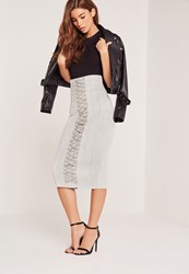 Missguided Lace Up Eyelet Faux Suede Midi Skirt Grey Grey