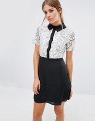 Fashion Union Shift Dress With Lace Top And Contrast Collar Black