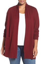 Sejour Plus Size Women's Shawl Collar Cardigan Red Deep Berry