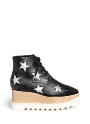 Stella Mccartney 'Elyse' Star Alter Nappa Wood Platform Boots Black