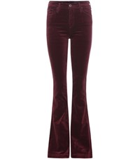 Ag Jeans Janis Flared Velvet Trousers Purple