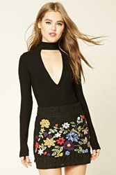Forever 21 Floral Crochet Mini Skirt Black Red