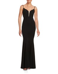 Betsy And Adam Mesh Accented Trumpet Gown Black