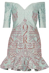 Mary Katrantzou De Bau Glitter Embellished Alphabet Jacquard Mini Dress Green