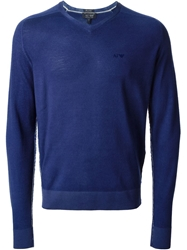 Armani Jeans Fitted V Neck Sweater Blue