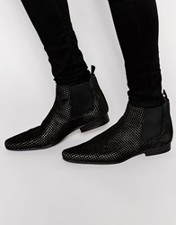 Asos Chelsea Boots In Black Suede With Gold Perforation Black