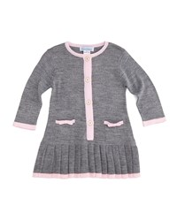 Florence Eiseman Long Sleeve Button Front Sweaterdress Gray Pink