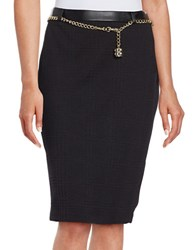 Karl Lagerfeld Textured Chain Accented Pencil Skirt Black