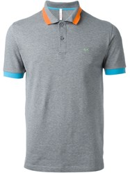 Sun 68 Wide Collar And Sleeve Detail 'Righe Fluo' Polo Shirt Grey
