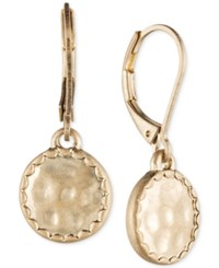 Lonna And Lilly Gold Tone Hammered Disc Drop Earrings