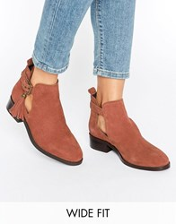 Asos Audrina Wide Fit Suede Tassle Boots Rust Red