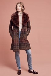 Anthropologie Amanine Houndstooth Coat Brown Motif