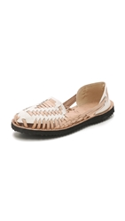 One By Ix Style Woven Leather Huarache Flats Beige