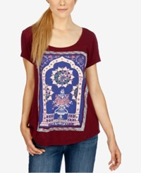 Lucky Brand Short Sleeve Graphic T Shirt Wine