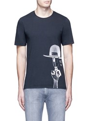 Denham Jeans X Art Comes First Top Hat Print T Shirt Black