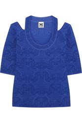 M Missoni Cutout Crochet Knit Top Blue