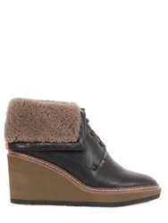 See By Chloe 80Mm Leather And Shearling Wedge Boots