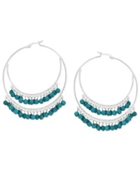 Macy's Manufactured Faceted Turquoise Double Hoop Earrings In Sterling Silver 3 8 Ct. T.W.