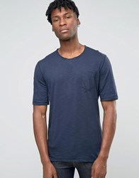 Sisley Raw Neck T Shirt With Pocket In Slub Fabric Navy 275