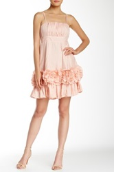 Ryu Spaghetti Strap Floral Applique Dress Pink