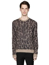 N 21 Leo Printed Brushed Mohair Knit Sweater