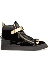 Giuseppe Zanotti Embellished Patent And Smooth Leather Trimmed Velvet Sneakers Black