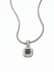 John Hardy Bedeg Black Sapphire And Sterling Silver Small Square Pendant Necklace
