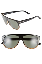 Tom Ford 'Kristen' 59Mm Polarized Wayfarer Sunglasses Black Havana Front Polar