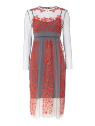Little White Lies Sheer Embroidered Midi Dress Grey