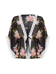 Mela Loves London Lace Trim Tropical Print Kimono Black