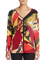 Josie Natori Mixed Print Top Multicolor