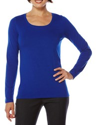 Rafaella Scoop Neck Cotton Blend Long Sleeve T Shirt Sapphire