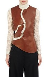 Esteban Cortazar Cutout Leather Top Brown