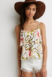 Forever 21 Tropical Print Flounce Cami White Pink