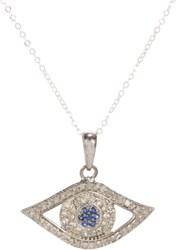 Feathered Soul Diamond And Sapphire Evil Eye Pendant Necklace Colorless
