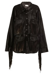 Faith Connexion Fringed Buttoned Jacket Black