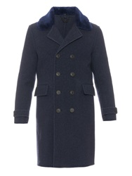 Burberry Shearling Collar Wool Coat