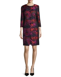 Albert Nipon Jacquard Jacket And Sheath Dress Set