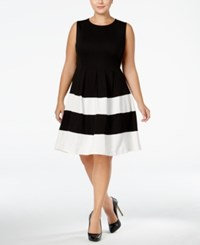 Monteau Trendy Plus Size Fit And Flare Dress Black White