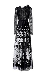 Andrew Gn Lace Sleeve Gown Black