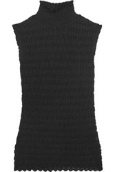 Carven Cable Knit Cotton Blend Turtleneck Top Black