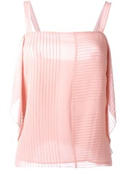 Tory Burch Ruffled Sleeveless Top Pink And Purple