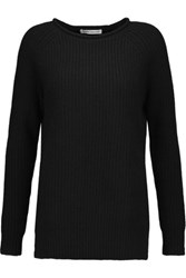 Autumn Cashmere Ribbed Knit Sweater Black