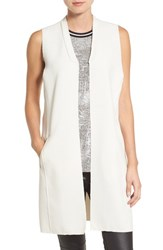 Trouve Women's Raw Edge Long Vest Ivory Sand