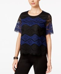 Inc International Concepts Lace Colorblocked Top Only At Macy's Black Blue